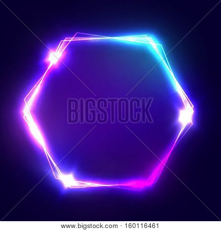 Neon sign. Hexagon glowing light banner with blank space. Electric hexagonal bright frame on dark blue backdrop. Neon abstract background with flares and sparkles. Vintage vector illustration.