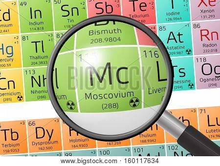 Element Of Moscovium With Magnifying Glass