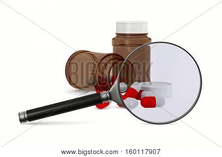 Magnifier and medecine on white background. Isolated 3D image