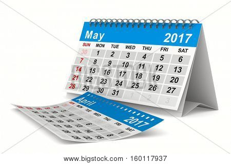 2017 year calendar. May. Isolated 3D image