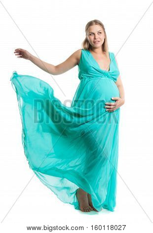 Young Pretty Pregnant Woman. A Woman Waiting For A Child. The Joy Of Motherhood. Light Air Summer Dr