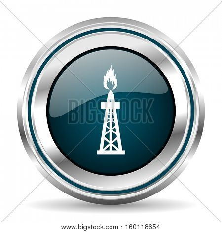 Oil gas vector icon. Chrome border round web button. Silver metallic pushbutton.