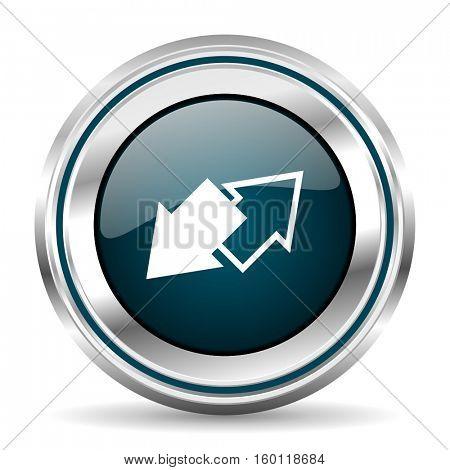 Exchange vector icon. Chrome border round web button. Silver metallic pushbutton.