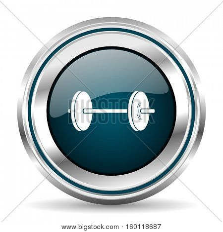 Fitness vector icon. Chrome border round web button. Silver metallic pushbutton.