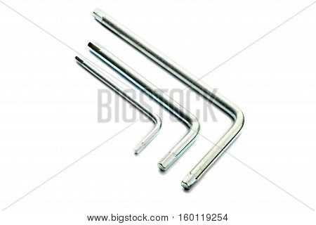 chrome allen key or Hex wrench different size on white background isolate
