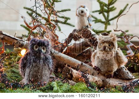 STUTTGART GERMANY - DECEMBER 3 2016: Stuffed plush owls and pine branches as decoration on roof of a kiosk at Christmas market (Weihnachtsmarkt) on December 3 2016 in Stuttgart Germany.