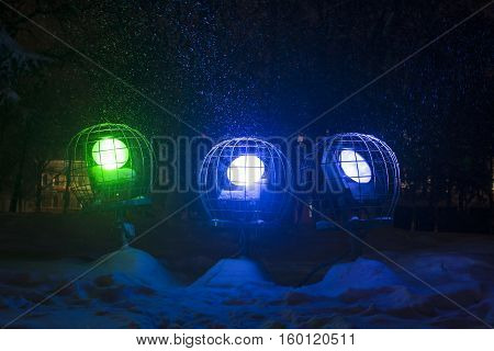 searchlight to illuminate the night light on the objects falling snow