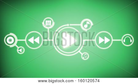 Background image of interface icons on color background