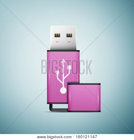 Pink USB flash drive icon isolated on blue background. Vector Illustration
