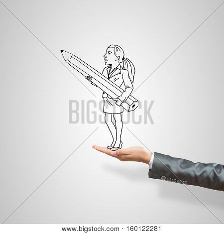 Drawn businesswoman in female palm on gray background