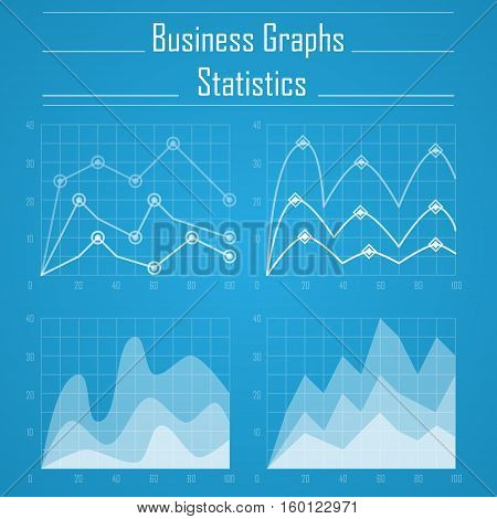 Set of four white business graphs isolated on blue background