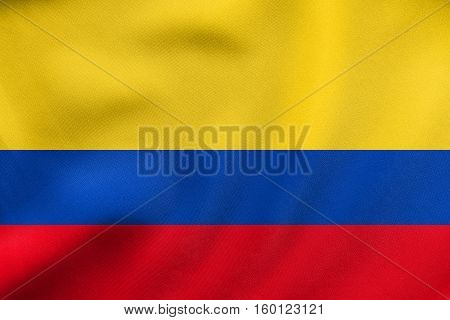 Flag Of Colombia Waving, Real Fabric Texture