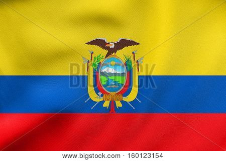 Flag Of Ecuador Waving, Real Fabric Texture