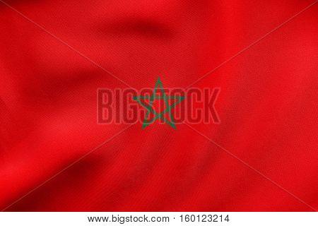 Flag Of Morocco Waving, Real Fabric Texture