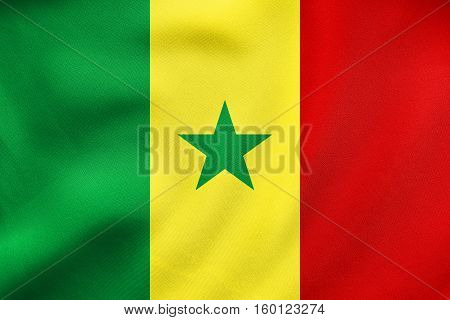 Flag Of Senegal Waving, Real Fabric Texture