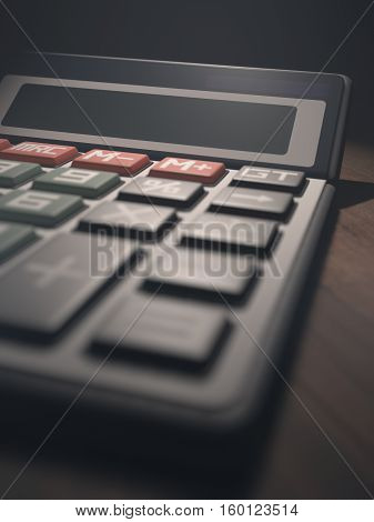 3D illustration. Calculator with digital display blank. Your text or number on display.