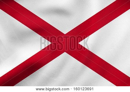 Flag Of Alabama Waving, Real Fabric Texture