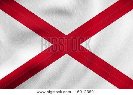 Flag Of Alabama Waving, Real Fabric Texture