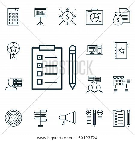 Set Of 16 Project Management Icons. Can Be Used For Web, Mobile, UI And Infographic Design. Includes Elements Such As Quality, Report, Personality And More.