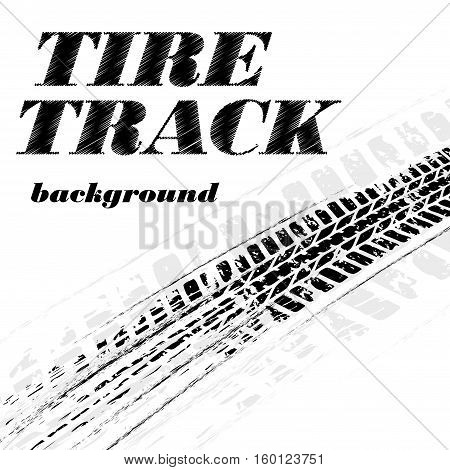 Black grunge tire track with sample grunge text isolated on white background