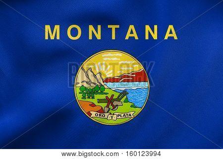 Flag Of Montana Waving, Real Fabric Texture