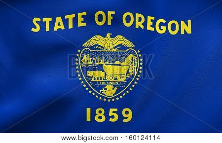 Flag Of Oregon Waving, Real Fabric Texture