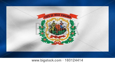 Flag Of West Virginia Waving, Real Fabric Texture
