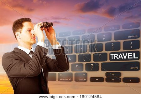 Businessman using binoculars on abstract background with keyboard and sky view. Research and travel concept. Double exposure