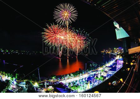 Happy New Year 2017 Sydney concept with fireworks display at Sydney Harbour as a background.