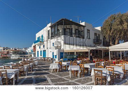 Little Venice at Mykonos, Cyclades Islands, Greece