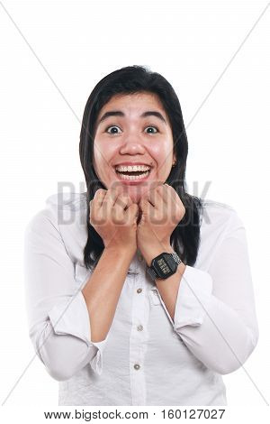 Photo image portrait of a young beautiful Asian woman looked very excited with big eyes and big smile on her face close up half body portrait on white background