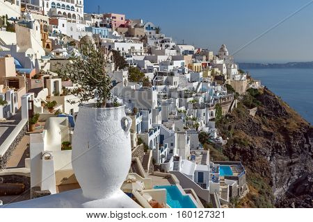 Panoramic view of White houses in Fira, Santorini island, Thira, Cyclades, Greece