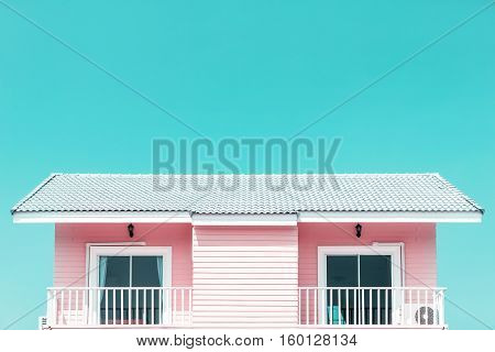 Vintage tone style - building a new roof of home blue sky as background