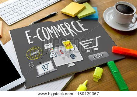 E-commerce Add To Cart Online  Order Store Buy Shop  Online Payment Shopping Business And Modern Lif