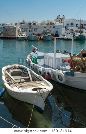 Port  in Naoussa town, Paros island, Cyclades, Greece