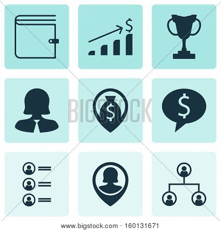 Set Of 9 Human Resources Icons. Can Be Used For Web, Mobile, UI And Infographic Design. Includes Elements Such As Pin, Profile, Dollar And More.