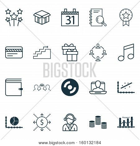 Set Of 20 Universal Editable Icons. Can Be Used For Web, Mobile And App Design. Includes Elements Such As Money, Circle Graph, Open Cardboard And More.