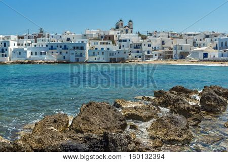Venetian fortress and small port in Naoussa town, Paros island, Cyclades, Greece