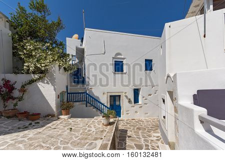 Typical street in town of Parakia, Paros island, Cyclades, Greece