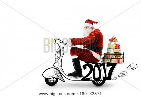 Santa Claus driving scooter to deliver Christmas or New Year gifts, isolated on white background