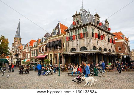 Square Roode Steen With Historical Weigh House In Hoorn, Netherlands