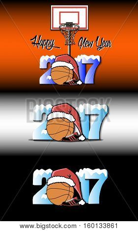 Snowy New Year numbers 2017 and basketball in a Christmas hat with basketball boots on the background of the basket. Vector illustration