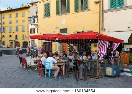 Bar On The Piazza Santo Spirito In Florence, Italy