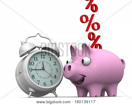 Time and percentages. Alarm clock and piggy bank with a red percentages symbols on a white surface. Financial concept. 3D illustration. Isolated