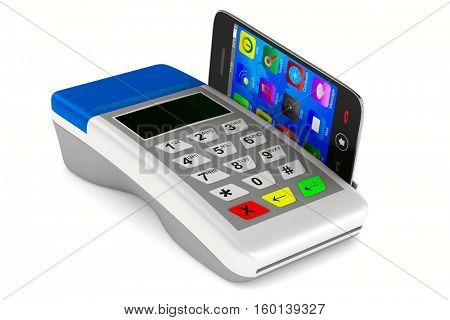Payment by phone on white background. Isolated 3D image