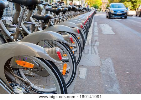Velib Bicycle Station In Paris, France