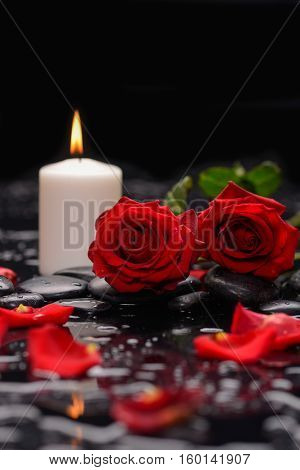Still life with red rose, petals with candle and therapy stones