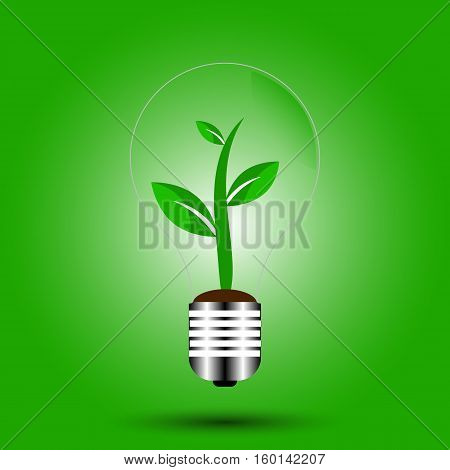 Light Bulb with sprout inside, green eco energy concept, Eco icon green leaf vector illustration isolated, leaves