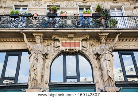 Facade Detail Of An Historic Building In Paris, France