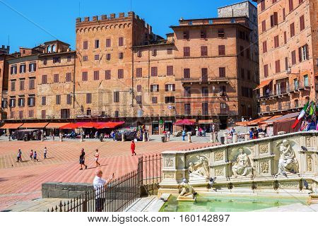 Piazza Del Campo With Fonte Gaia In Siena, Italy